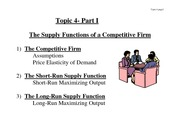 The Supply Functions of a Competitive Firm