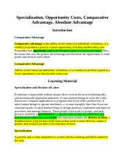 Specialization, Opportunity Costs, Comparative Advantage, Absolute Advantage