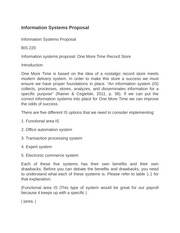information systems proposal essay Information systems proposal as we plan and start our future success as being business partners in our new nostalgic record store, you may not know much about.
