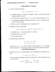Abstract Algebra Ordinary Differential Equations Exam Study Guide Fall 06