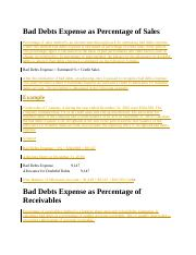 Bad Debts Expense as Percentage of Sales.