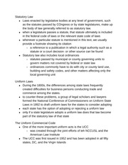 Statutory Law notes