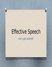 Effective Speech - Chapter One
