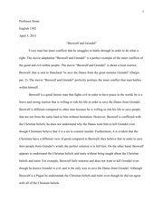 Beowulf short essay (5-6 sentences) question?