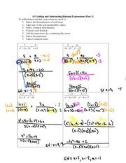 4.5 Adding an Subtracting Rational Expressions (Part 2)