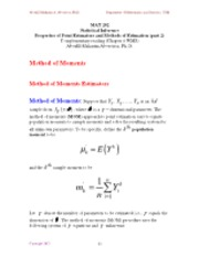 Chapter 9 - - Properties of Point Estimators and Methods of Estimation (part 2)