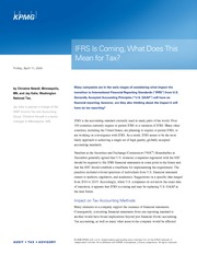 KPMG- IFRS Is Coming, What Does This Mean for Tax