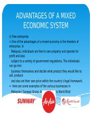 pros of a mixed economy