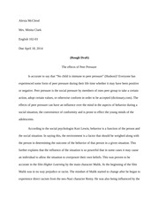 essay the effects of peer pressure final draft mccleod  3 pages essay 3 the effects of peer pressure rough draft
