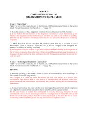 Week 5 Cases--Obligations to Employees.docx