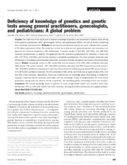 Deficiency of knowledge of genetics and genetic tests among general practitioners, gynecologists, an