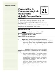 LSN21 Phenomenological and Humanistic Trait Persepctives
