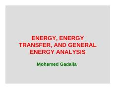 2- Energy, Energy Transfer, and General Energy Analysis