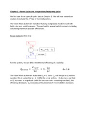 Chapter 5  Power Refrigeration Heat pump cycles    WEL notes
