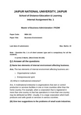 MBA-101 Business Environment