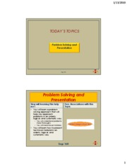 Lecture 2 - Problem Solving and Professional Presentation