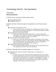 CriminologyUnit5-TextQuestions
