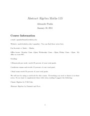 Math 113 lecture notes