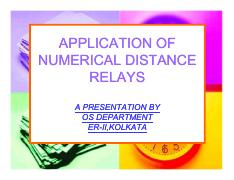 Application of Numerical distance Relay - APPLICATION OF