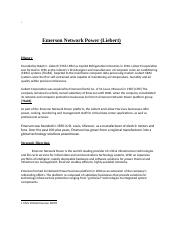 EMERSON NETWORK POWER SWOT WEEK 4