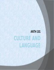 ANTH 101 Ch 3 Culture and Language