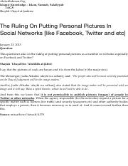 The Ruling On Putting Personal Pictures In Social Networks [like Facebook, Twitter and etc] | AbdurR