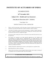 (www.entrance-exam.net)-Institute of Actuaries of India-Subject SA1- Health and Care Insurance Sampl