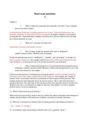 Sport Psychology Final Examination Question Answer - Final