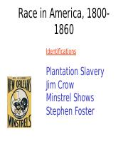 03 - Slavery and Minstrel Shows, 1820-1860(1).ppt