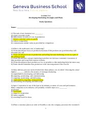 Lecture 3 -4 MCQ Exam Developing Marketing Strategies and Plans 1