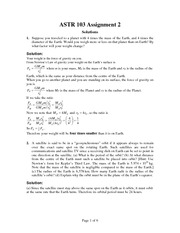 ASTR 103 Fall 2012 Assignment 2 Solutions