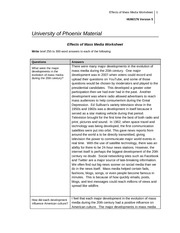 effects of mass media hum 186 Hum 176 week 1 effects of mass media worksheet review the week 1 readings and videos complete all sections of the university of phoenix material: effects of mass media worksheet.