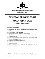 General Principles of Malaysian Law (August 2011 Exam Series).pdf