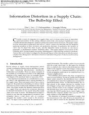 Chapter 10.3 - Information distortion in a supply chain-The bullwhip effect by Lee