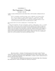 The Experience of Thought- Reading Response 4