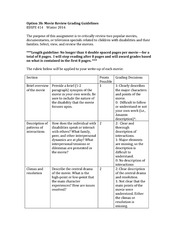 EDSPE 414 Rubric_MovieReview