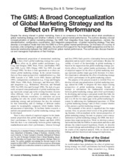 The GMS- A Broad Conceptualization of Global Marketing Strategy and Its Effect on Firm Performance