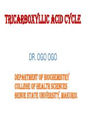 TRICARBOXYLLIC ACID CYCLE