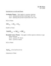 Lecture 9--Introduction to Acids and Bases