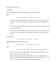 Assignment 3 question notes (CPI, SPI, EV)