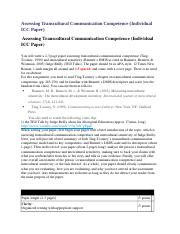 Assessing Transcultural Communication Competence