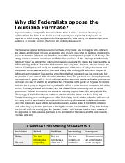 Why did Federalists oppose the Louisiana Purchase? - Nicolas Ceron Grandas