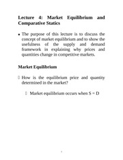Lecture 4: Market Equilibrium and Comparative Statics Econ 1150