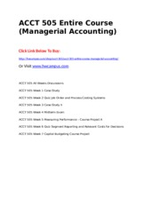 ACCT 505 Entire Course (Managerial Accounting).doc