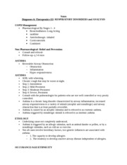 Notes Diagnoses & Therapeutics III RESPIRATORY DISORDERS and ANALYSIS 3