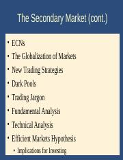 Lecture09 ppt - The Secondary Market(cont ECNs The