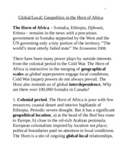 Lecture 4, 2015, Horn of Africa