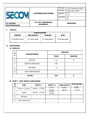 Laporan Bulanan Secom Baru Docx 01 Februari 2018 Periode Januari 2018 Halama N Lampira N Laporan Bulanan Pt Usc Indonesia Jababeka Pt Secom Course Hero