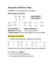 Properties of Matrices Notes