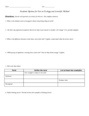 Review Sheet Academic Ecology Sci Method 2012
